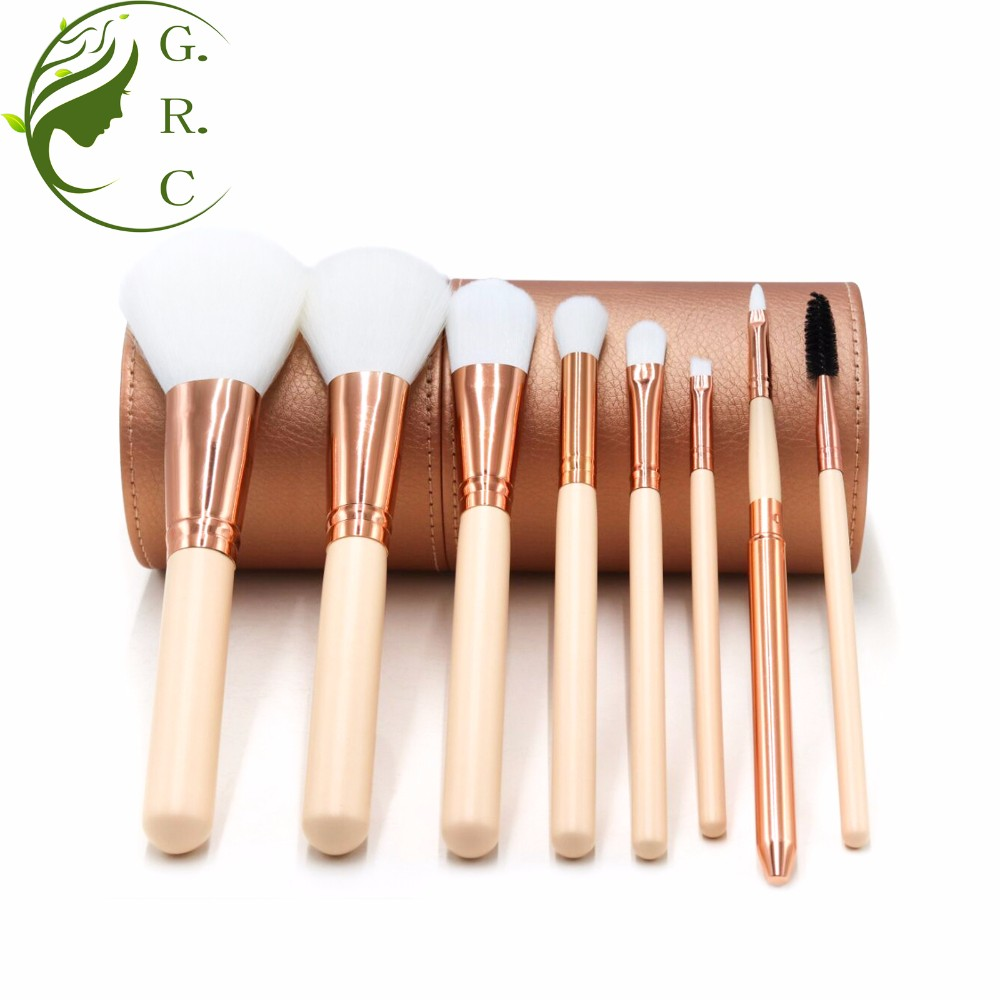 Brochas De Maquillaje Wholesale Private Label Make Up Brushes With Cup Holder 8Pcs Blue Orange Pink Colorful Makeup Brush Set