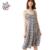 HAODUOYI Women New Fashion Sexy Backless Spaghetti Strap Vintage Elegant Plaid Sundress Midi Casual Summer Dress for Wholesale