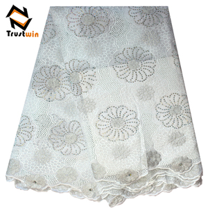 African fabrics wholesale cotton fabric white swiss voile lace for wedding CL10231