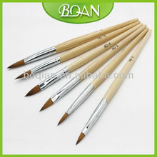 BQAN Original Wooden Handle Pure Kolinsky Acrylic Nail Brushes Nail Art