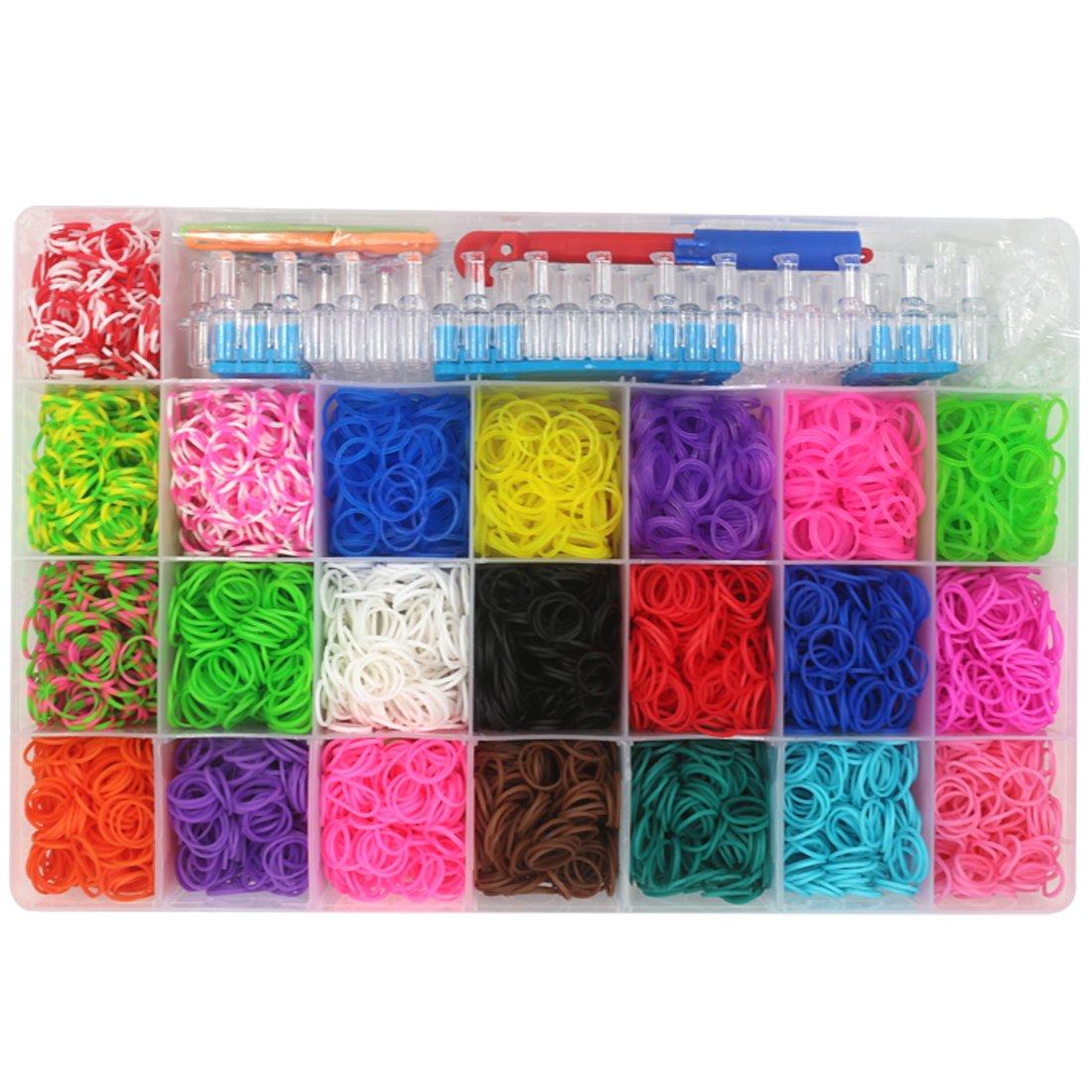 Kirinstores TM 6000 PCS 240 Clips Bands Refills for Loom Rainbow Bracelet Dress Making Skin Tone Flesh Coloured