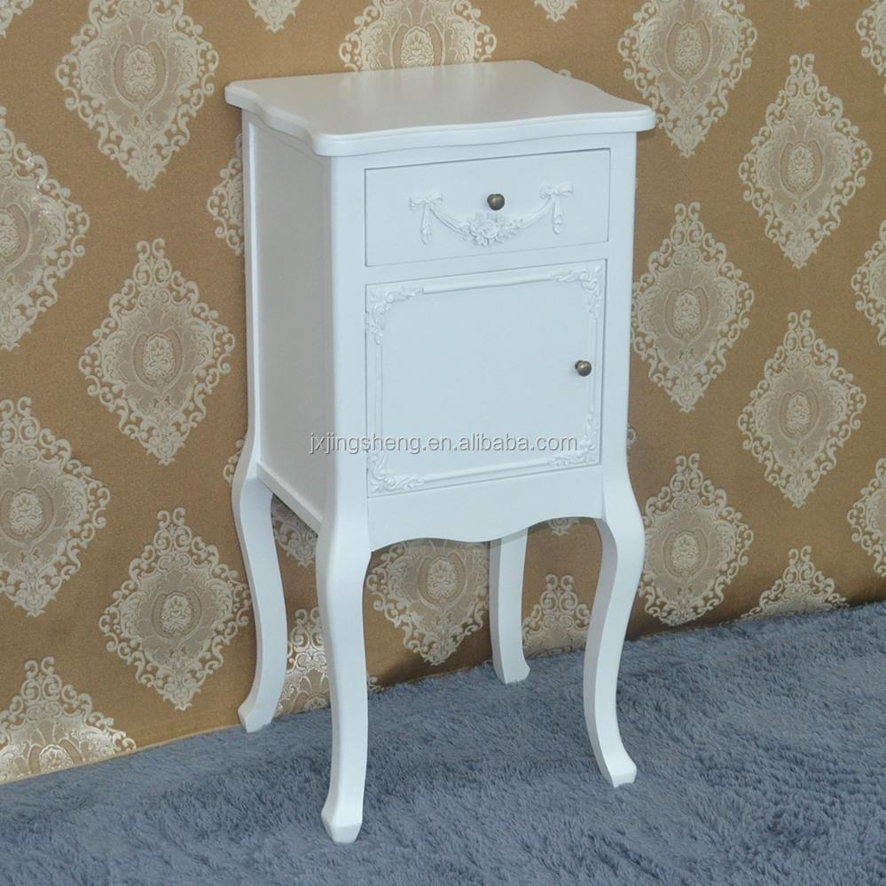 Oriental chambre meubles blanc brillant en bois table de chevet ...