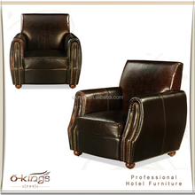 modern design top grain leather european style sofa set hotel furniture leather sofa with rivet