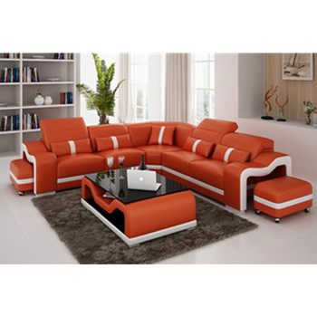 Size L Shaped Living Room Furniture Deep Orange Genuine Leather Sofa