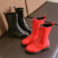 2018 autumn and winter new front zipper children's leather boots children's wild flat bottom plus velvet girls boots