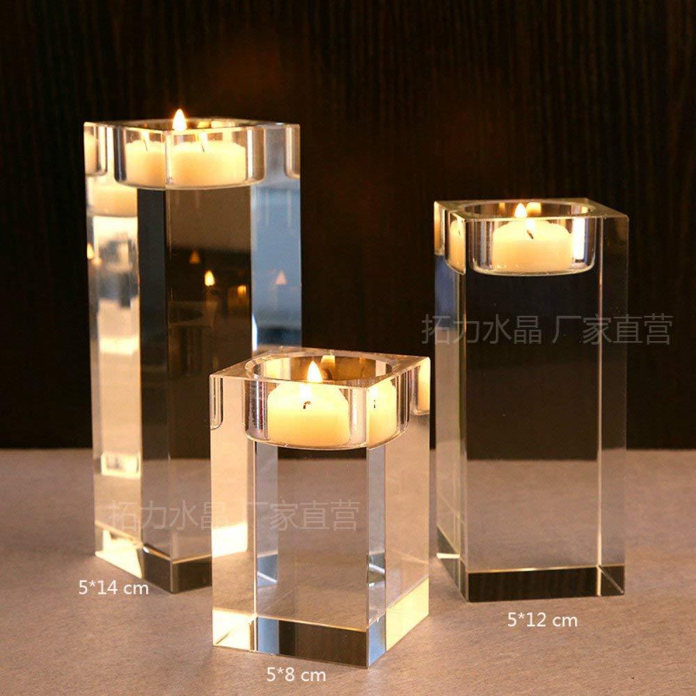 Aqumotic 3pcc candlestick holders set crystal glass candle holders restaurant table crystal glass candle holders wedding