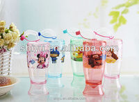 Children Plastic Drinking Cup with lid and Straw