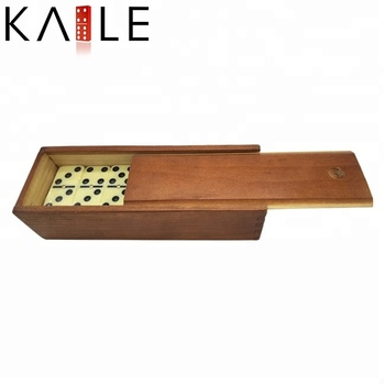 Double six small light yellow domino with wooden box