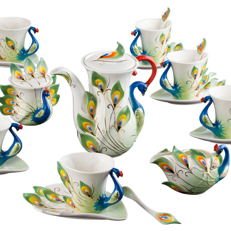 drinkware sets coffee tea sets 21pcs sets high-grade porcelain peacock  Coffee suit European wedding gifts