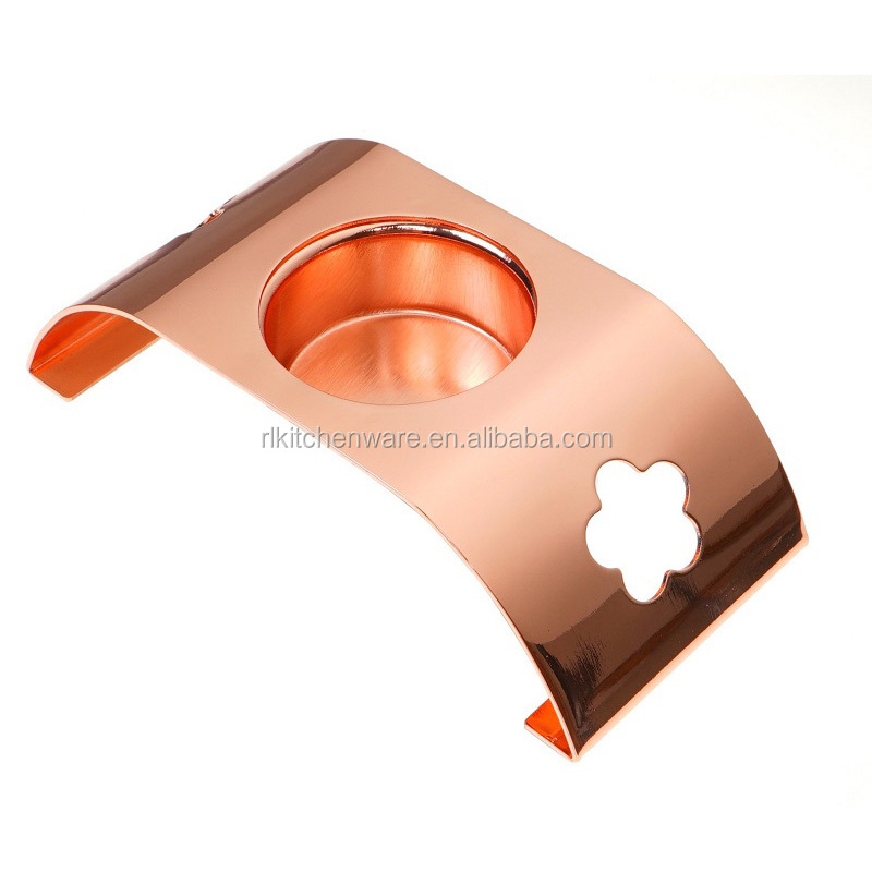 Home use small stainless steel with copper plate metal candle holder