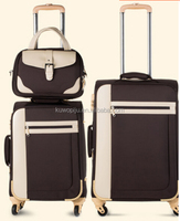 soft lightweigt traveling fabric travel bag trolley case with 4 wheels