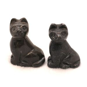 Natural black agate semi precious stone carving animals cat
