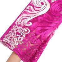 Фиолетовая африканская кружевная ткань для aso ebi, оранжевая кремовая желтая французская кружевная ткань с камнями, белая новейшая фатиновая...(Китай)