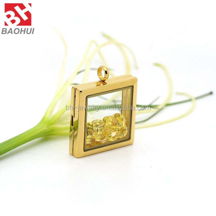 28*28MM Square Shape Waterproof Floating Locket Costume Jewelry Stainless Steel Photo Frame <strong>Pendants</strong>
