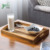 Set Of 3 Torched Wood Dark Brown Breakfast Coffee Table Wood Serving Tray Set