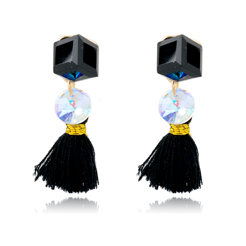 Popular square white opal and jet crystal stud earring with fringe stud earring, sweet style sublime earring for lady