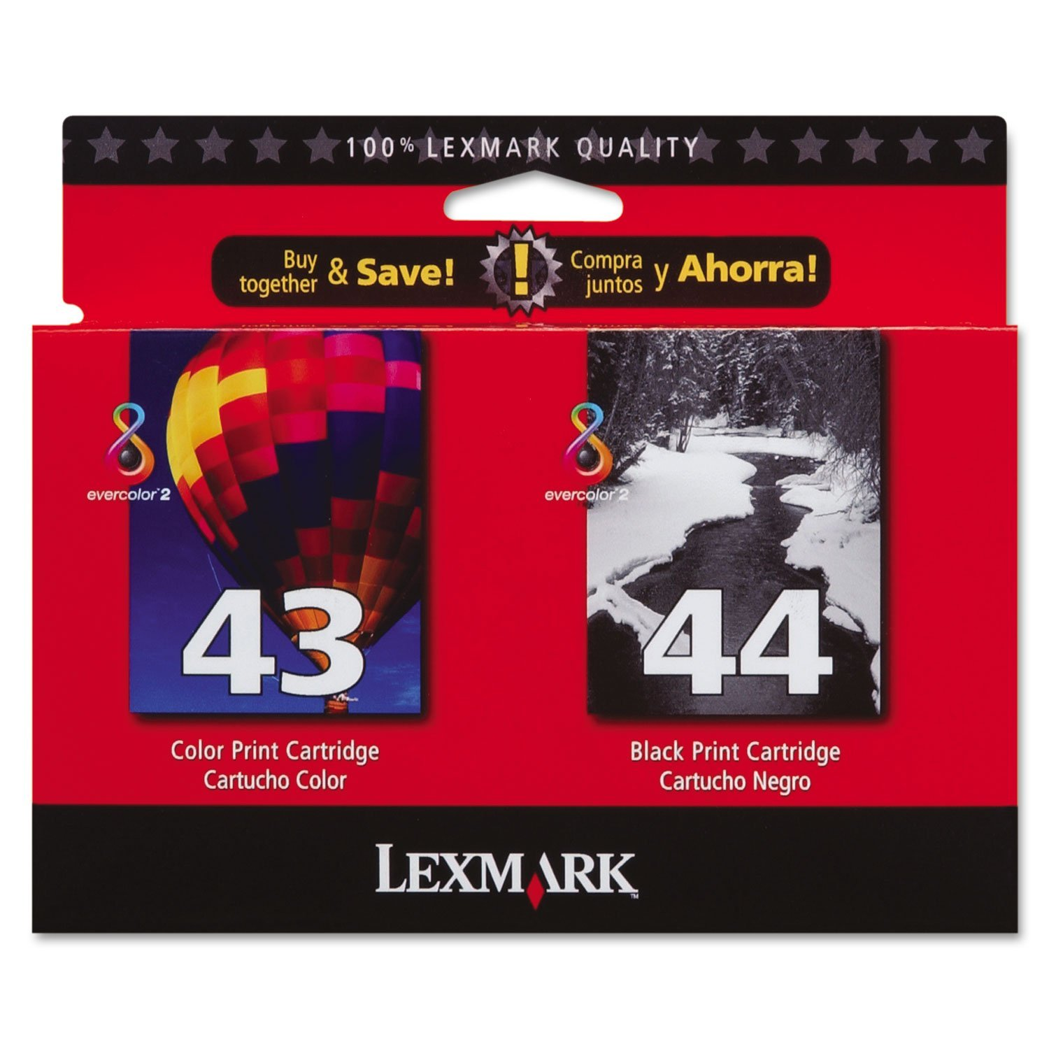 Lexmark International Products - Photo Print Cartridge, Combo Pack, Black/Tri-color - Sold as 1 PK - Twin-pack includes a 43XL Color Print Cartridge and 44XL Black Print Cartridge. Cartridges are designed for use with Lexmark X4850, X4875, X4950, X4975, X7675 and X9350 All-in-One.