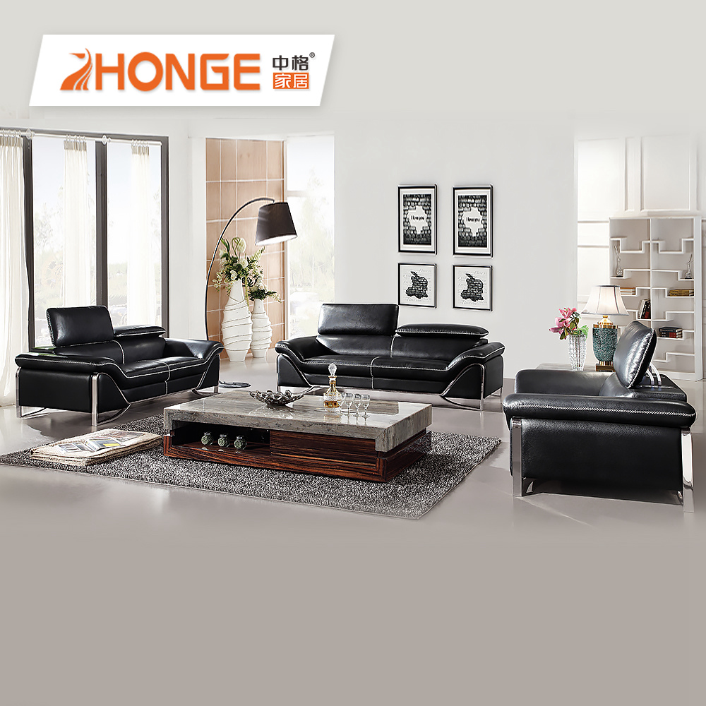 Leisure Simple Style Leather Stainless Steel Leg Sofa Modern Design  Sectional Leather Black Sofa Set - Buy Leisure Leather Sofa,Leather  Sectional ...