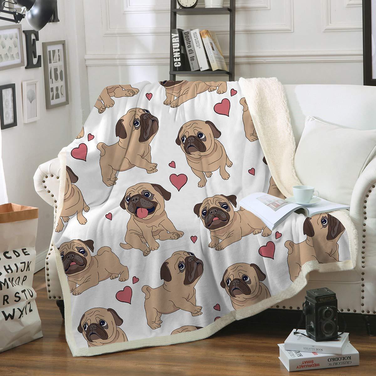 "Sleepwish Pug Fleece Blanket Pet Blanket Dog Reversible Blanket Soft Sherpa Blanket Throw Blanket Pug Lover (50""x 60"")"