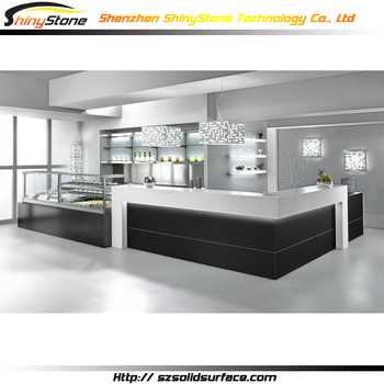 gorgeous l shaped restaurant design acrylic solid surface kitchen bar counter height