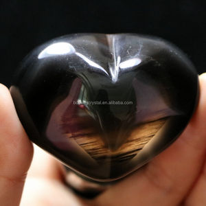 Natural Beautiful Polished Rainbow Obsidian Stone carved Hearts