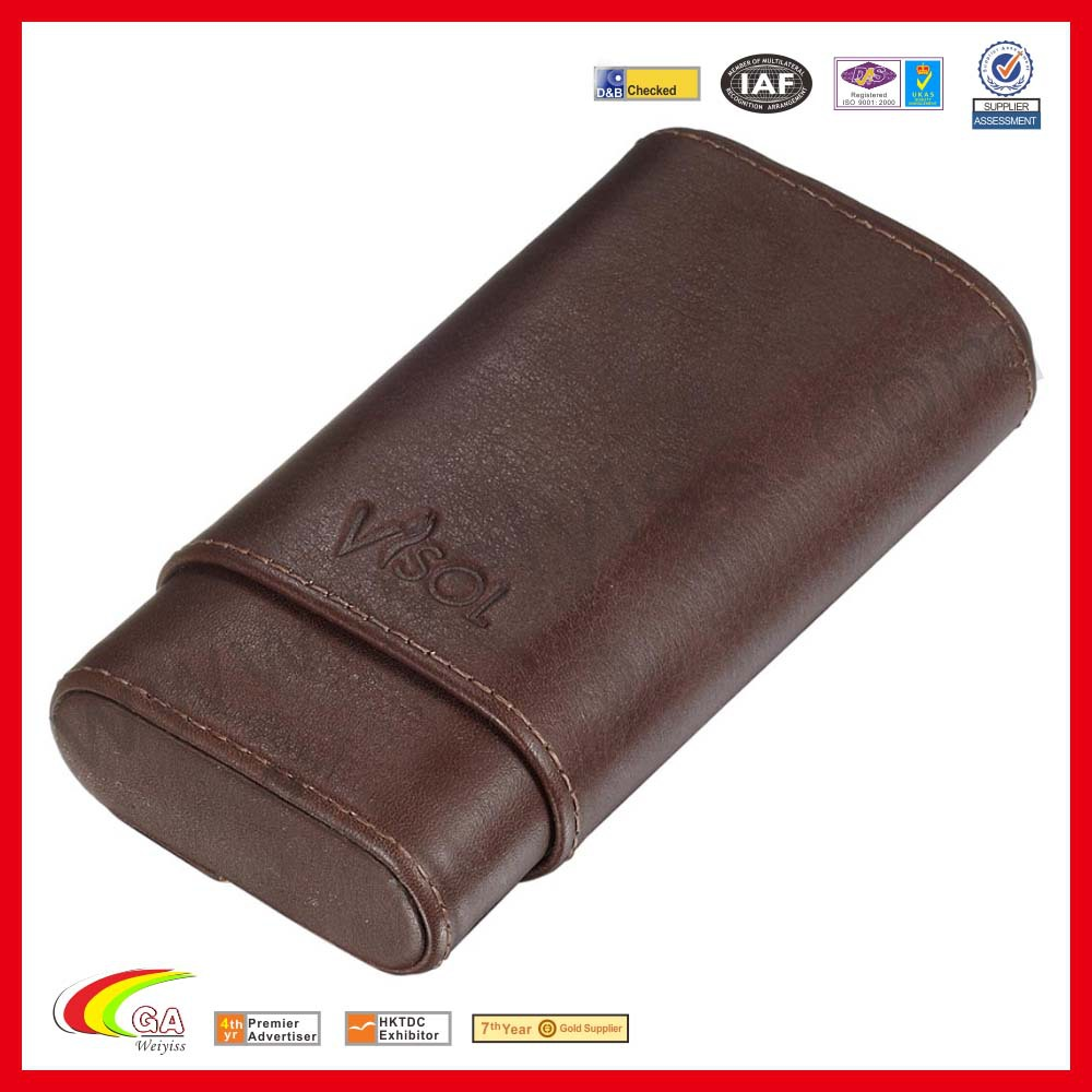 Genuine Brown Leather 3-Finger Cigar Case for Mass Production