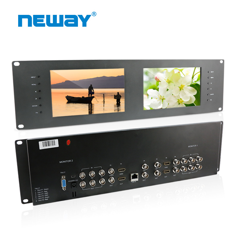 "high resolution Support low-frequency 3RU Dual Rack Mount 7"" LCD Monitors"