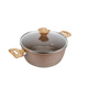 Granite ceramic coating wooden handle cooking casserole pot with induction and lid
