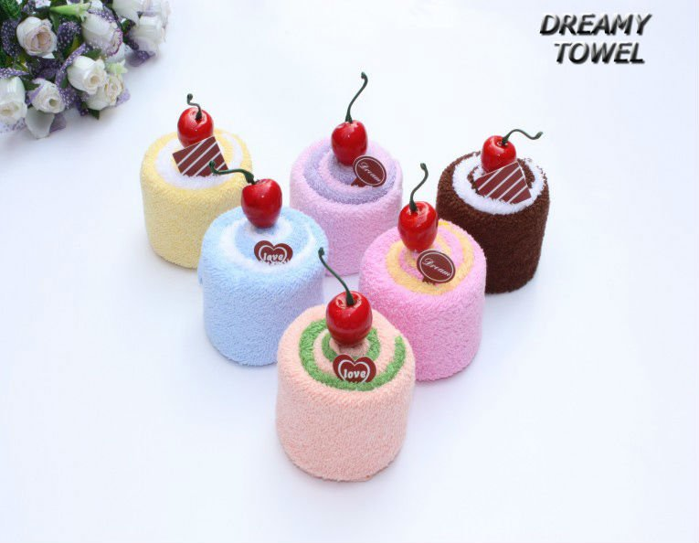 Free shpping via EMS 48pcs/ lot ,MX-59  Cherry Cake Cake towel ,Handmade with cotton towel Children gifts Christmas gifts