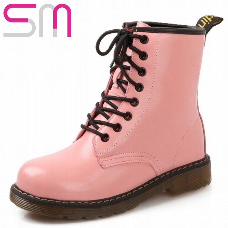 91dd94b6f7c Get Quotations · 2015 Square Heels Women Ankle Boots For Women Spring Fall  Vintage Motorcycle Boots Rubber Sole Lace