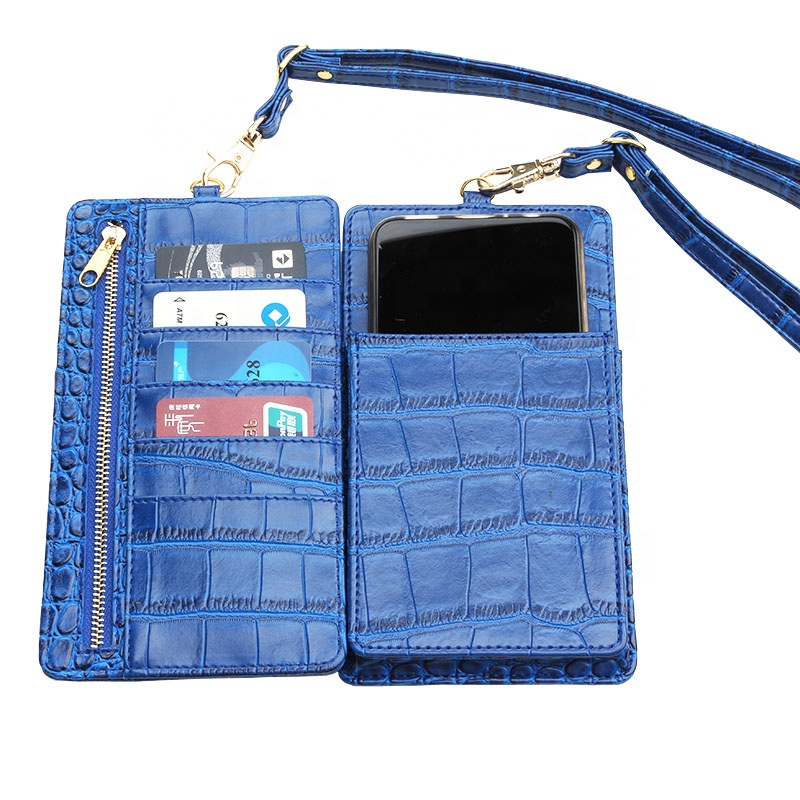 PHONE PURSE POUCH EMBOSSED CROCODILE PATTERN LEATHER WITH CARD SLOT WALLET CARD HOLDER