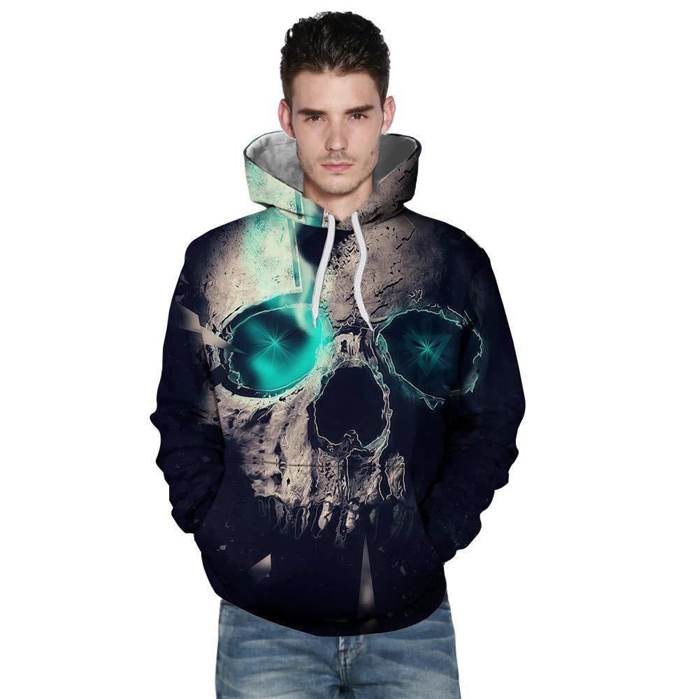 PHOTNO Mens Sweatshirts,Halloween Lightweight Hoodie 3D Print Hooded Sweatshirt Jacket Tops Graphic Hoodies for Men
