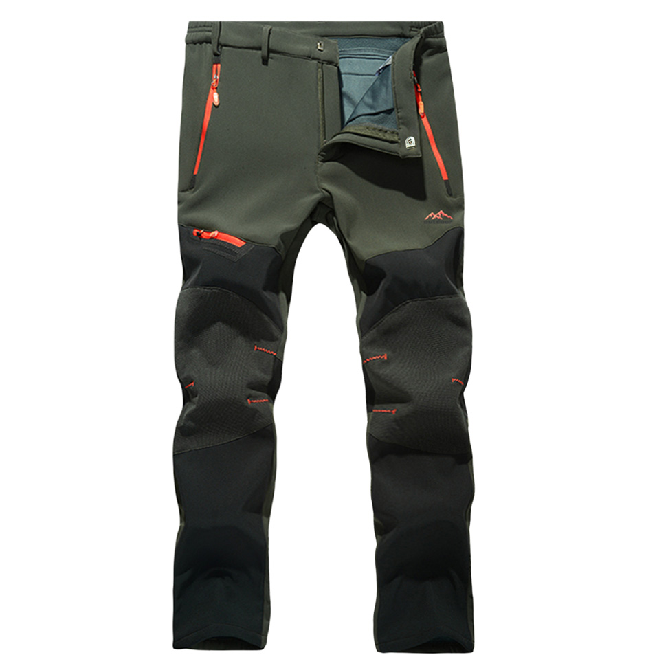Men Outdoor Soft Warm Windproof Waterproof Tactical Hiking Pants For Winter