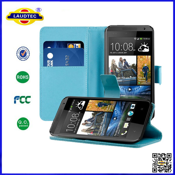 New Side Opening PU Leather Wallet Case Cover for HTC Desire 300 Laudtec