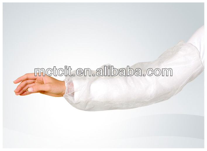 Disposable nonwoven arm sleeve cover with elastic cuff