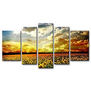 So Crazy Art-5 Panel Yellow Orange Wall Art Painting Beautiful Yellow Sunflowers Colourful Sky Background Golden Sunset Pictures Prints On Canvas Flower The Picture Decor Oil For Home Modern Deco