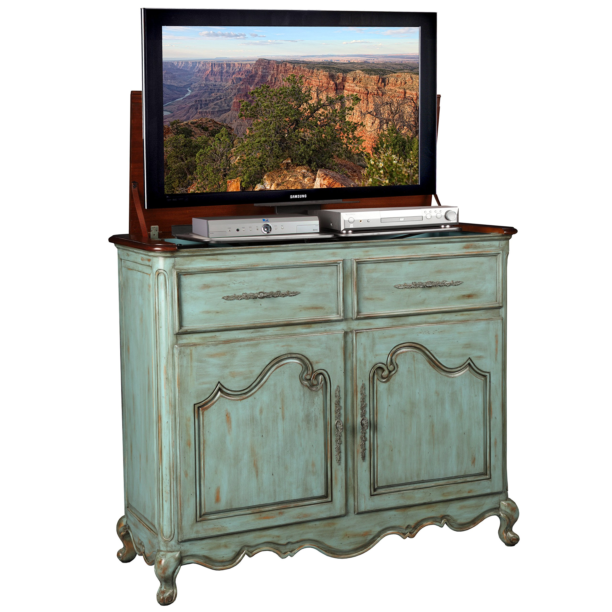 Get Quotations · TV Lift Cabinet For 32 46 Inch Flat Screens (Weathered  Blue) AT006332