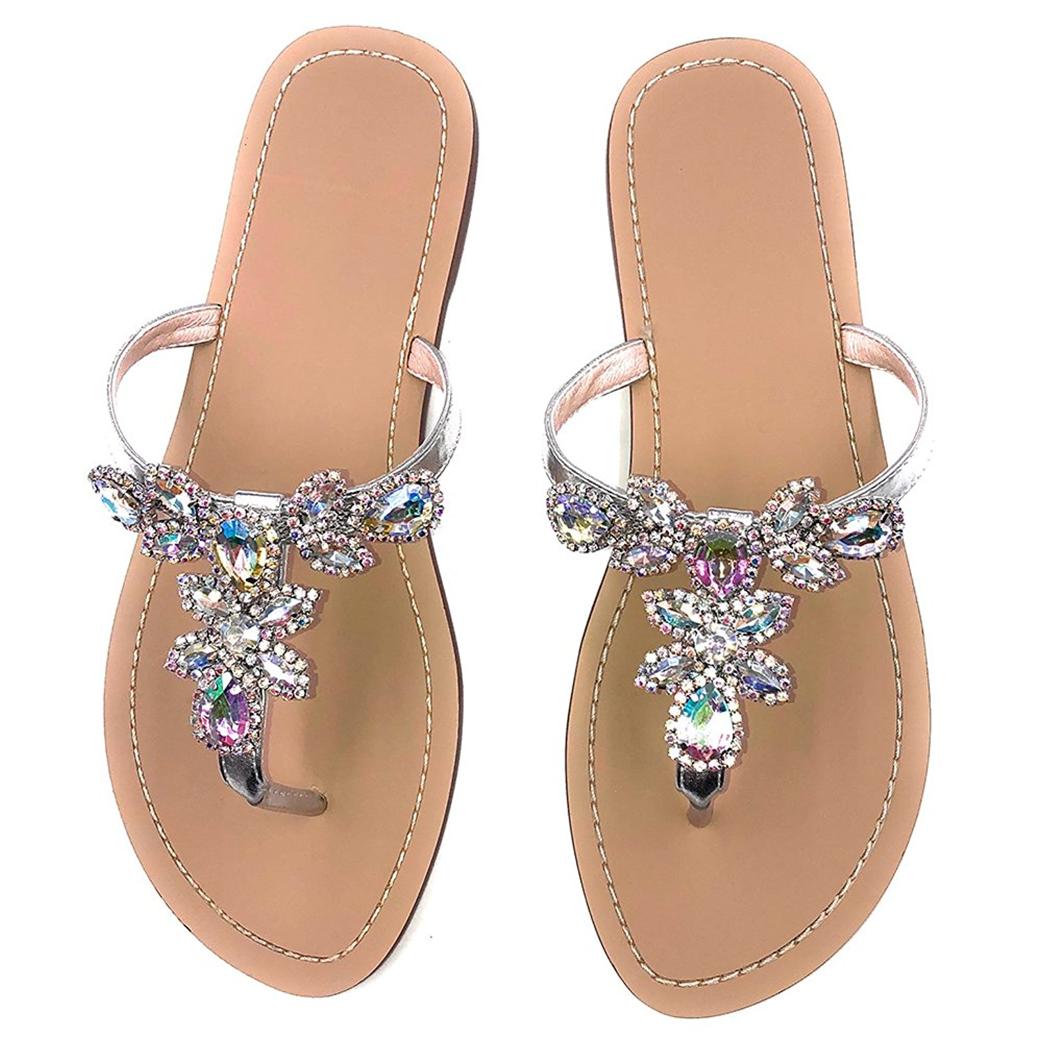 23a7eed4736d31 Get Quotations · azmodo Women s Silver Jeweled Hand Crafted Crystal Flip  Flops Rhinestones Flats Sandals Y22