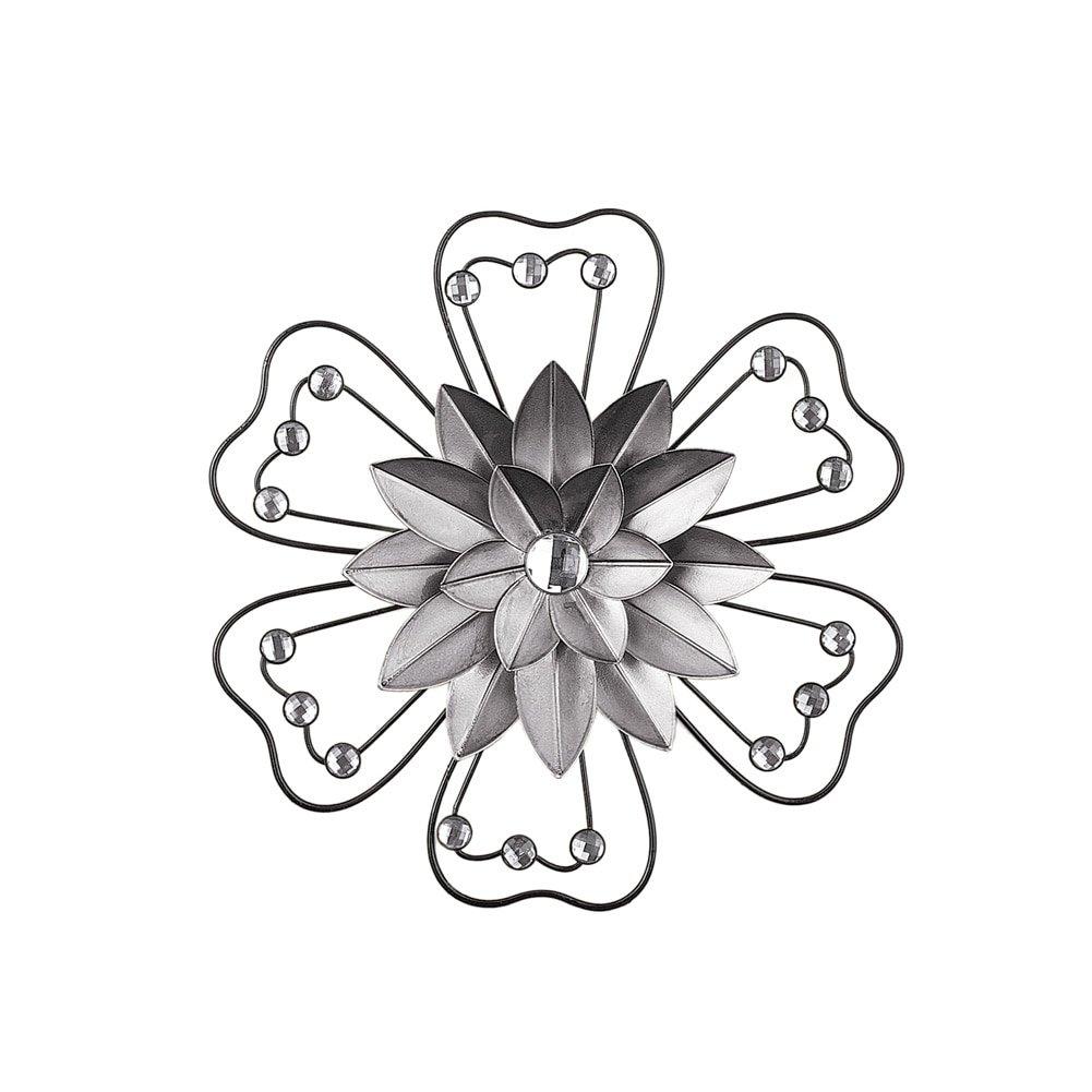 Crystal Accented 3D Metal Flower Wall Art Décor, Grey