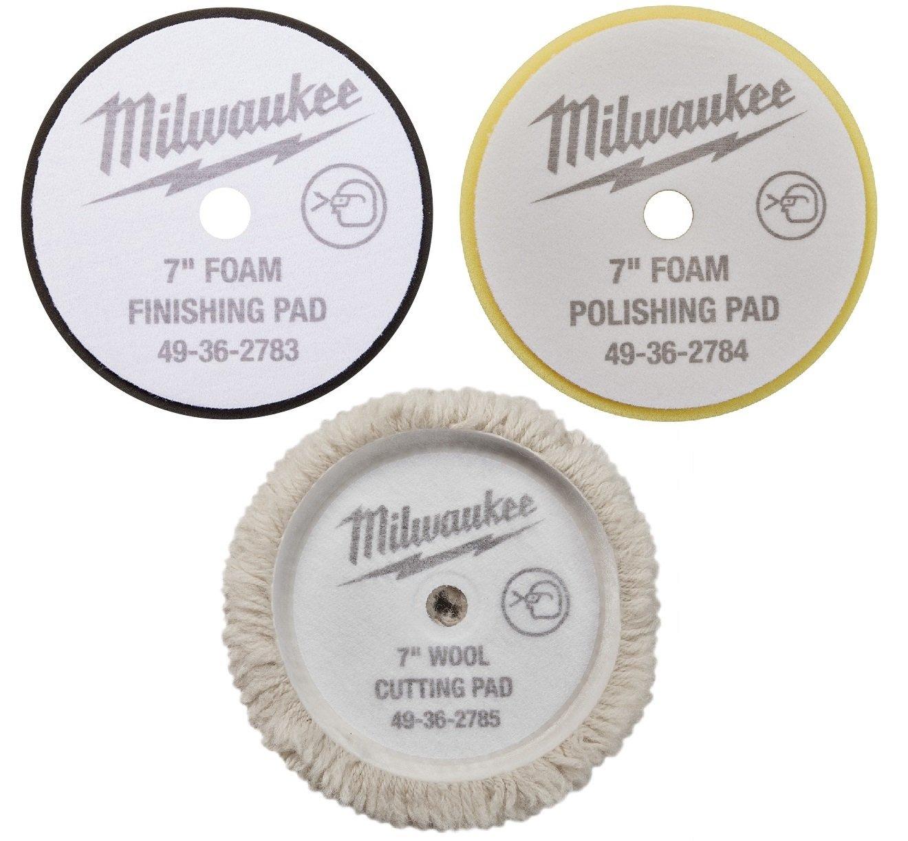 """(7"""") - NEW - Cutting Polishing and Finishing Pad Kit 49-36-2783,2784,2785 for Milwaukee M18 Polisher (2738)"""