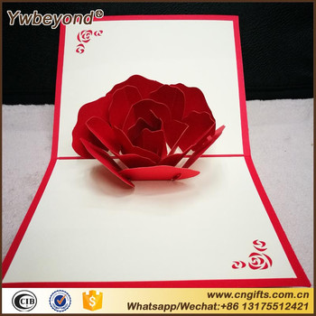 Ywbeyond Handicraft Holiday Pop Up Greeting Cards Red Rose Flower Wedding Invitation Card