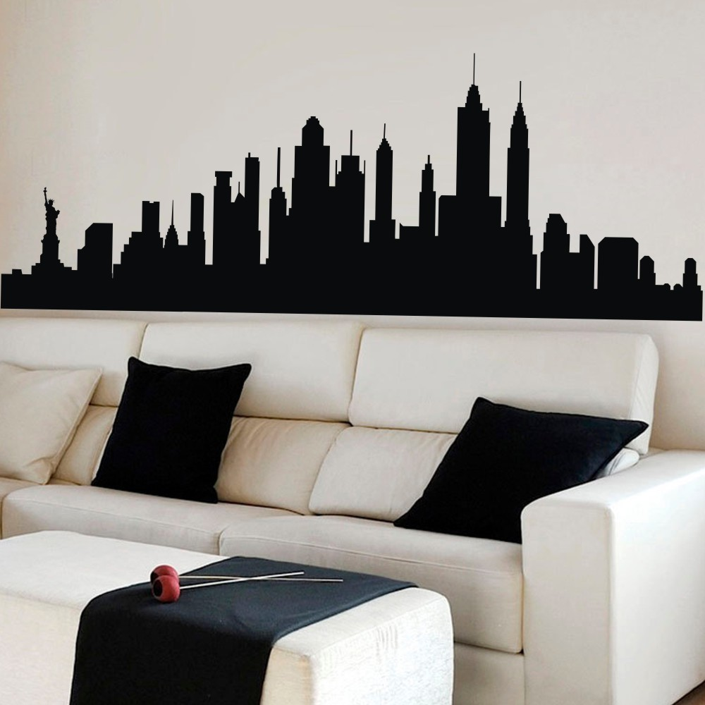 Designart New York City Skyline Panorama 5 Piece Wall: Wall Decal New York City NYC Skyline Cityscape Travel
