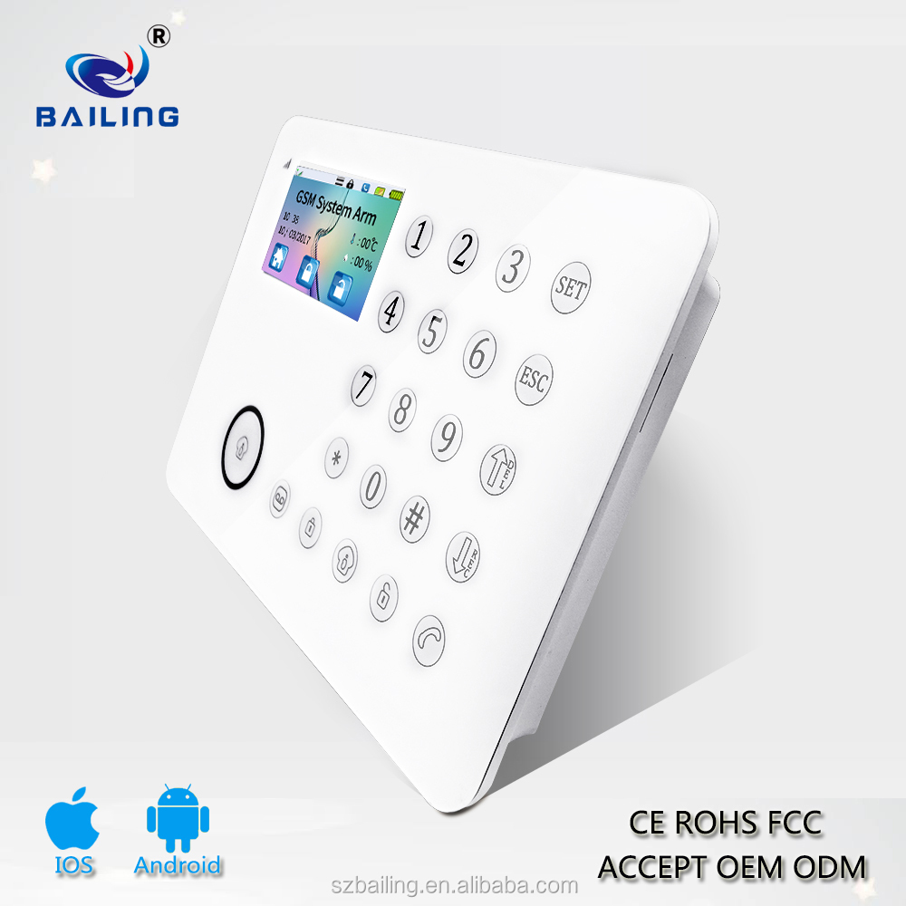 PSTN Phone Line Connected Home Intelligent Door Window Intruder Auto Dialer Security Alarm Systems with 88 Wireless TFT screen