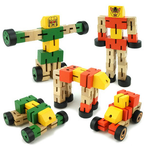 wooden education robot toy