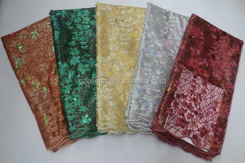 AG6853 2019 Cheap african design sequin embroidered mesh net lace fabric for party dress
