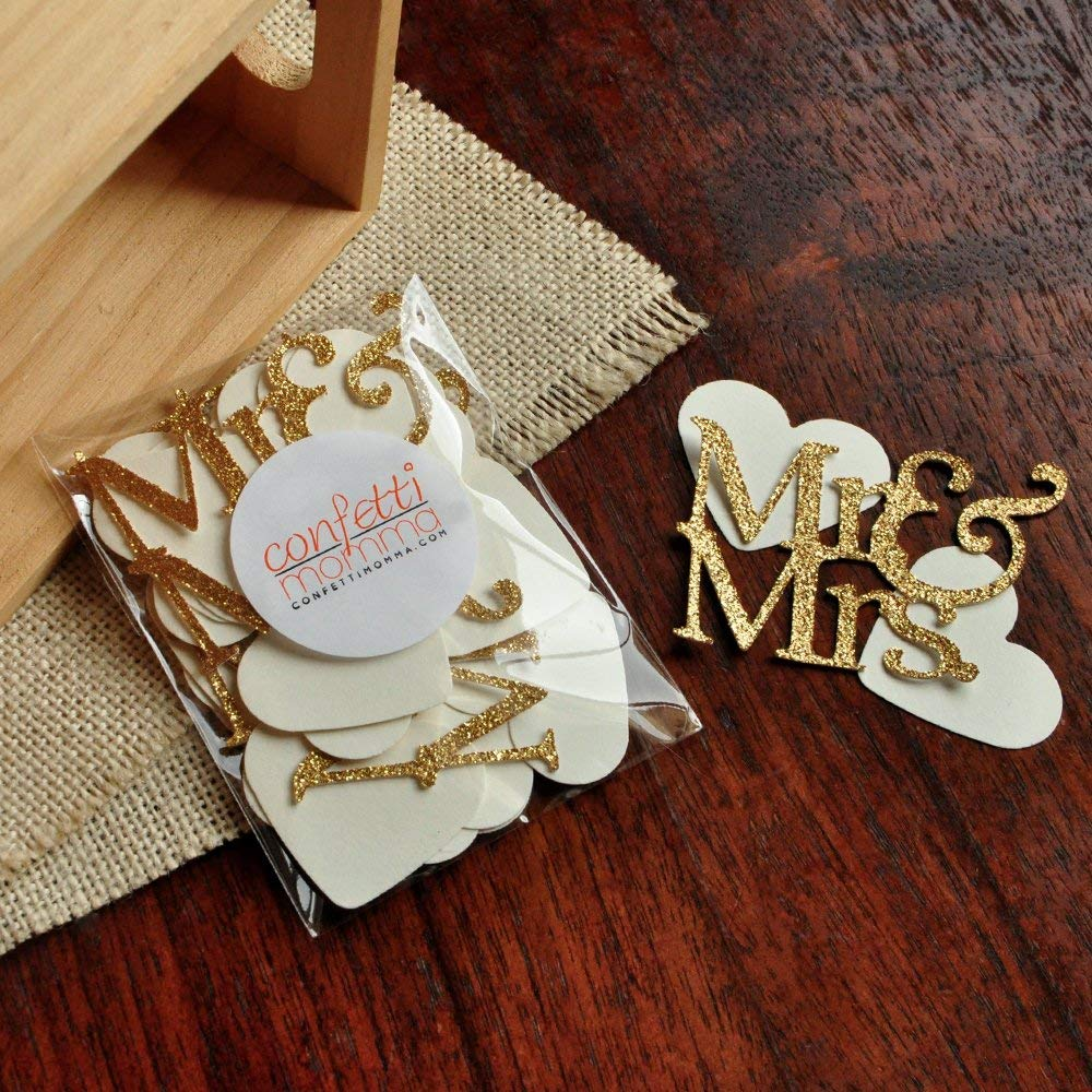Wedding Table Confetti 45CT (2 Packs). Mr. & Mrs. Party Decorations. Engagement Party Decor.