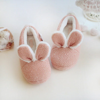 cute rabbit home slippers women house shoes warm winter flats for