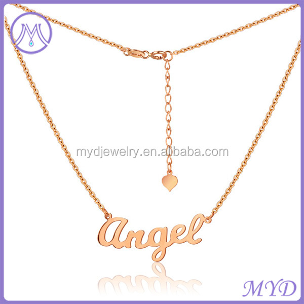 Fashion Jewelry Rose Gold Plated Heart Angel Ladies Love Pendant Letter Necklace