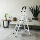 Niceway Iron 4 Step Stool Household Steel Ladder Metal Folding Ladders with Handrail Cheap Price