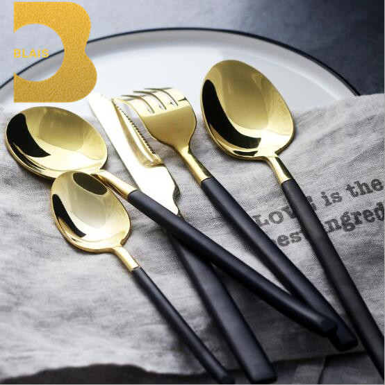Restaurant supply ice cream spoon gold plated cutlery set